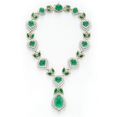 mackay emerald necklace | Emerald and diamond necklace with matching earrings, by David Webb ...
