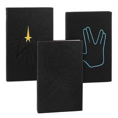 These Star Trek Journals come in three flavors: Captain's Log, Enterprise, and Spock. Use yours to take meeting notes. Use them to keep a journal. Or maybe you'll be like Kirk and use your Star Trek Journal to record all your star dates?