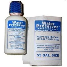 55 Gallon Water Preserver Concentrate 5 Year Emergency Disaster Preparedness Survival Kits Emergency Water Storage Earthquake Hurricane Safety by SurvivalKitsOnline Hurricane Preparedness, Disaster Preparedness, Survival Prepping, Survival Skills, Survival Gear, Survival Shelter, Camping Survival, Water Storage, Food Storage