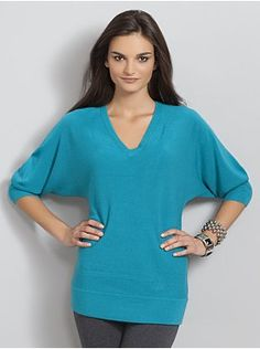 Dolman-Sleeve Tunic Sweater