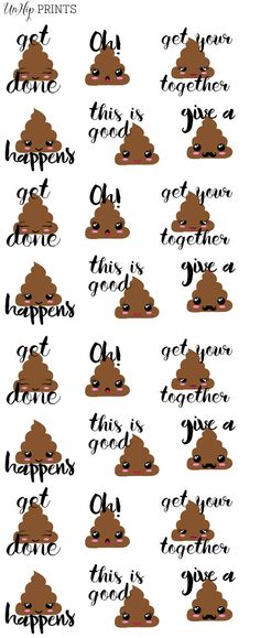Poop emoji Stickers Planner Stickers Inspirational by UnHipPrints