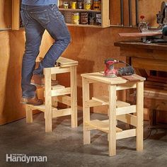 "What's better than a simple stool project? A ridiculously simple one. Here are plans for a workshop stool you can make, inspired by that ""simpler is better"" concept. #woodworkingplans"