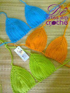 Sutiã de Biquíni Cortininha em Crochê,  SEM BOJO, by Dê Artes em Crochê.