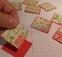 "Pinwheel Card. Step One: Begin by punching 8 squares of Designer Series Paper with the 1 1/4"" Square Punch. Punch two coordinating patterns (4 of each). Using the 1 3/8"" Square Punch, punch 8 squares of coordinating Cardstock."