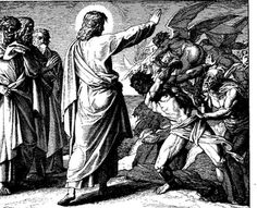 """January 26th - Mark 3:22-30: Summoning them, he began to speak to them in parables, """"How can Satan drive out Satan? If a kingdom is divided against itself, that kingdom cannot stand. And if a house is divided against itself, that house will not be able to stand. And if Satan has risen up against himself and is divided, he cannot stand; that is the end of him."""