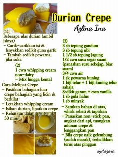 Durian crepe Pastry Recipes, Dessert Recipes, Cooking Recipes, Durian Recipe, Durian Cake, Malay Food, Crepe Cake, Crepe Recipes, Malaysian Food