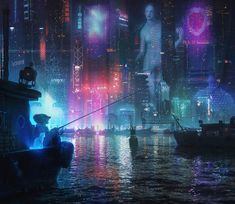 "1,387 Likes, 14 Comments - CYBERPUNK | NEON | URBAN (@cybervibe) on Instagram: ""Lights of dystopian harbor ◼️ Tags: #cybervibe #digitalart #akira #cyberpunk #киберпанк…"""