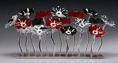 """Black Cherry Garden Table Centerpiece"" Art Glass Sculpture Created by Scott Johnson"