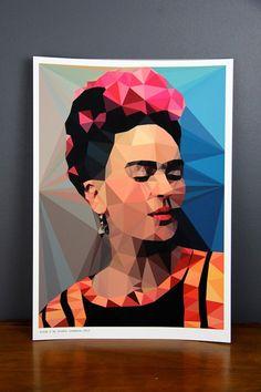 Original Frida Kahlo australian geometric art original print local artist