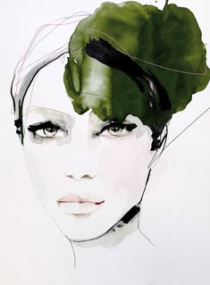 Soft Rapture Fashion illustration portrait art print by Leigh Viner #fashionillustration #beauty #watercolor #art