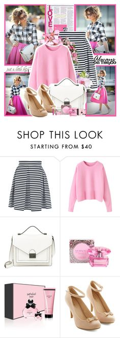 """""""Always On The Go"""" by winala ❤ liked on Polyvore featuring Jane Norman, Loeffler Randall, Versace, Michel Germain and Lancôme"""