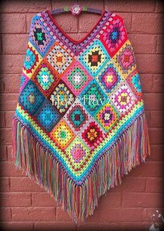 Granny Square Poncho, Granny Square Crochet Pattern, Crochet Squares, Crochet Granny, Granny Squares, Crochet Poncho Patterns, Crochet Motifs, Crochet Jacket, Ravelry Crochet