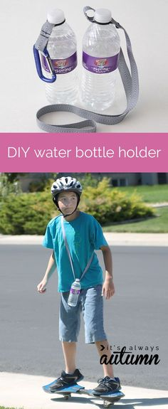 cool idea for an easy DIY water bottle holder using an O-ring and ribbon - now kids can carry their own water!