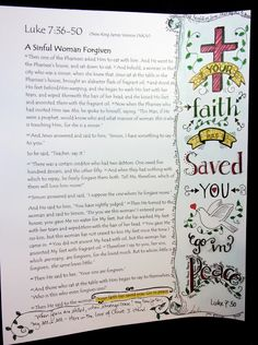 Printed page from Bible Gateway Site - Stamping with Julie Gearinger: Luke Your Faith has Saved You, Go In Peace. Bible Art Journaling- Day One :-) Scripture Crafts, Bible Art, Book Art, Bible Study Journal, Art Journaling, Scripture Journal, Journal Art, Journal Ideas, Art Journal Challenge