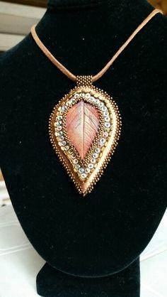 Raku leaf pendant