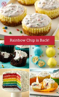 We hear you, Rainbow Chip fanatics! Believe it — Ultra-delicious Betty Crocker Rainbow Chip frosting is back and ready to party. No Cook Desserts, Delicious Desserts, Yummy Food, Dessert Drinks, Dessert Recipes, Rainbow Chip Frosting, Cheesecake Cupcakes, Sweet Ideas, Summer Treats