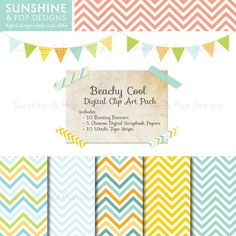 INSTANT DOWNLOAD - Digital Scrapbook Kit - Chevron papers backgrounds, Bunting Banners, Washi Tape,  for scrapbooking, invitations, and more. $6.49, via Etsy.