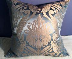 SCHUMACHER ROYAL BLUE SILK DAMASK; LEE JOFA SHAYLA SILK Back Custom Made Pillow in Collectibles | eBay