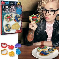 We noticed that many folks these days are really into tattoos. Perpetual Kid, on the other hand, is into cookies - our moms won't yell at us for cookies! So that seemed like a good starting point for Tough Cookies. Use 'em to bake up some classic tattoo designs and ink them with royal icing.  We've included four classic designs in this set!
