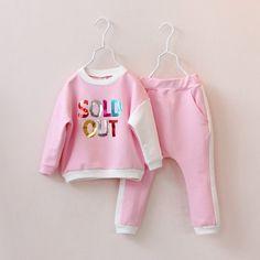 2015春裝新款女童裝 韓版彩色字母套裝 拼色袖子上衣+垮褲兩件套