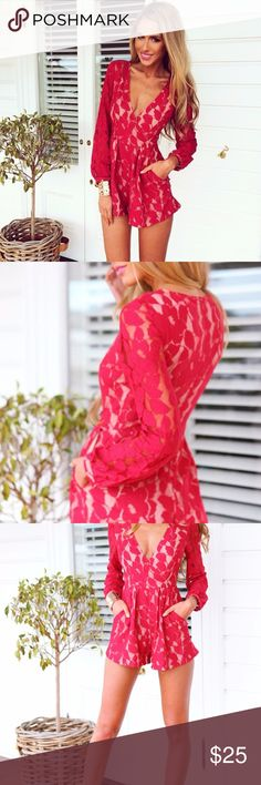 Mura Boutique Red Playsuit This romper makes a statement! It has a gorgeous lace overlay with lace sleeves. Dresses Mini