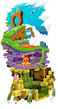 Green Hill Zone on top of Marble Zone on top of Labyrinth Zone from the original Sonic The Hedgehog