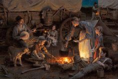 Here is an Oregon Trail family cooking dinner over the sure with kitchen utensils like pots and plates. Description from psolarz.weebly.com. I searched for this on bing.com/images