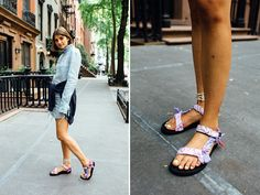 Three of the Best Ways to Style Tevas for Fall (and Still Look Cool) Tevas are finally having a moment. Here are three of the best ways to style Tevas for fall. Hot Weather Outfits, Summer Outfits, Sandals Outfit Summer, Birkenstock Outfit, Casual Outfits, Fashion Outfits, Spring Summer Fashion, Spring Style, Outdoor Outfit