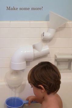 Hardware Store Bath Toys. Take various PVC pieces, drill holes, insert suction cups, hours of water play!