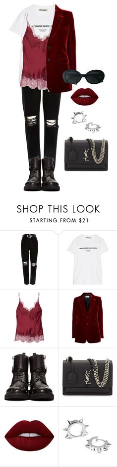 """Senza titolo #2256"" by monsteryay ❤ liked on Polyvore featuring River Island, Off-White, Carine Gilson, Yves Saint Laurent, Fendi, Lime Crime and Maria Francesca Pepe"