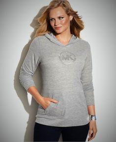 New Michael Kors Plus Size Waffle Hoodie Gray w/Studded-Silver Logo Size 1X #MichaelKors #WaffleKnitHooded