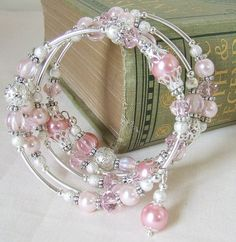 Beaded Memory wire Bracelet & Earrings by whiteravendesignsau, $20.00