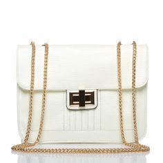 Wisner in white-- Inherit some Parisian chic with this haute, high-gloss purse, ideal for French martinis and Saturday-night socializing.