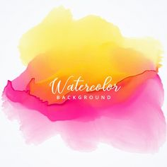 Yellow and pink watercolor stain background Free Vector