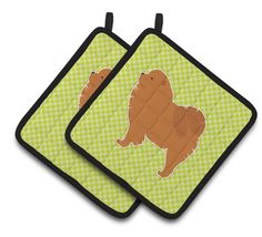 Chow Chow Checkerboard Green Pair of Pot Holders BB3851PTHD