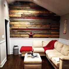 20 Astounding Living Rooms with Pallet Walls | Home Design Lover