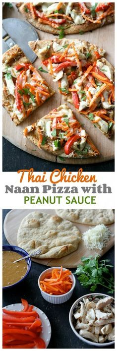 Thai Chicken Naan Pizza Recipe with Peanut Sauce, Red Pepper and Carrots...Always a hit! | cookincanuck.com
