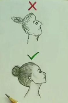 Easy Cartoon Drawings, Art Drawings Sketches Simple, Pencil Art Drawings, 3d Art Drawing, Drawing Hair, Drawing Tips, Drawing Ideas, Drawing Techniques, Art Tutorials
