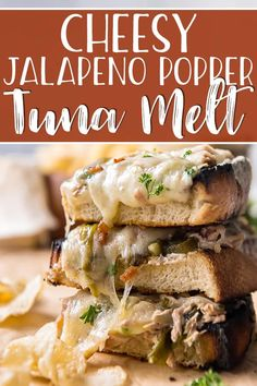 hello to your new favorite sandwich - the Grilled Jalapeno Popper Tuna Melt! Soft cream cheese, roasted jalapeños, bacon, and thick, grilled sourdough bread takes the classic tuna melt to a new level of flavor! Canned Salmon Recipes, Tuna Recipes, Fun Easy Recipes, Veggie Recipes, Seafood Recipes, Dinner Recipes, Easy Meals, Sandwich Recipes, Delicious Recipes