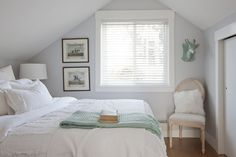 A touch of aqua adds depth without distracting from the bedroom's white color scheme.  Source: Janis Nicolay Photography