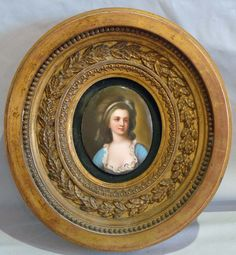 Porcelain Hand Painted Portrait Oval Plaque In Oval Giltwood Frame - France   c.1890