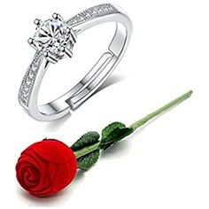 Buy Karatcart Valentine's Day Gift Hamper of Couple Ring with Red Rose Gift Box for Boyfriend/Girlfriend/Gift at Amazon.in Rose Gift, Gift Hampers, Rhinestone Wedding, Couple Rings, Platinum Ring, Boyfriend Girlfriend, Valentine Day Gifts, Red Roses, White Gold