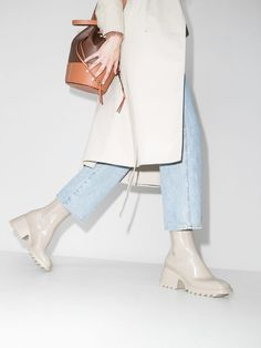 Introducing this month this pretty Betty boots in PVC by Chloé I Osvgallery The Weather Man, Chloe Boots, Browning Logo, White Fabrics, Brown Boots, Chic, Block Heels, Women Wear, Rain Boots Style