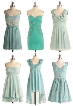 Mismatched Bridesmaid Dresses Aqua