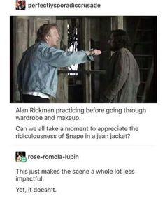 Snape in a jean jacket 🤣 - Harry potter - Harry Potter Marauders, Harry Potter Jokes, Harry Potter Cast, Harry Potter Universal, Harry Potter Fandom, Harry Potter World, Draco, Severus Snape, Hermione