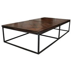 Circa Antiques Coffee Table Mesa With Antique Walnut Parquet Top