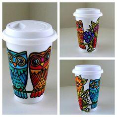 Ceramic Travel Mug Owls Flowers Woodland Hand Painted