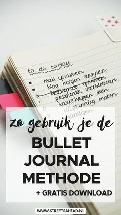 Lees hoe je de bullet journal methode kunt gebruiken om je dag te plannen. Een simpele maar handige methode om je planning en andere lijstjes bij te houden. In deze blogpost lees je alles over de methode, waarom het werkt en hoe je vandaag nog hiermee aan de slag kunt gaan. Plus op het eind vind je een handige freebie om te downloaden!