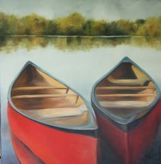 Large canvas. Oil painting in blues and greens with red row boats.