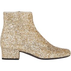 Saint Laurent Glitter Ankle Boots (1.835 RON) ❤ liked on Polyvore featuring shoes, boots, ankle booties, ankle boots, gold, genuine leather boots, zipper ankle boots, block heel booties and leather bootie